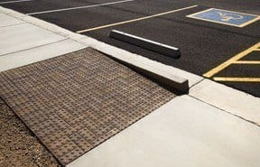ADA Warning Pavers Corner Parking Ramp Park