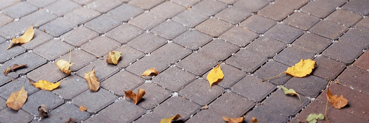 Why Pavers - Longevity - Leaves fall on a brick driveway